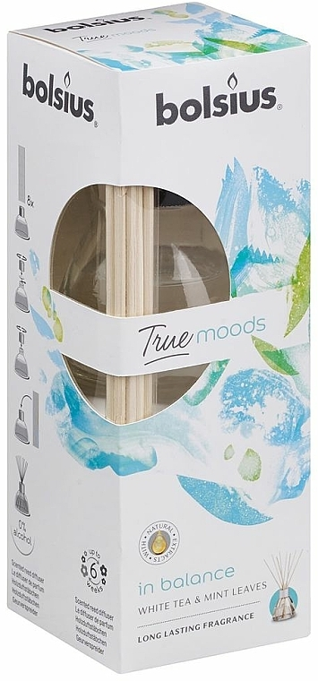 """Reed Diffuser """"White Tea and Mint Leaves"""" - Bolsius Fragrance Diffuser True Moods In Balance"""