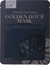 Fragrances, Perfumes, Cosmetics Facial Sheet Mask - Elroel Golden Hour Mask Charcoal Pore Control