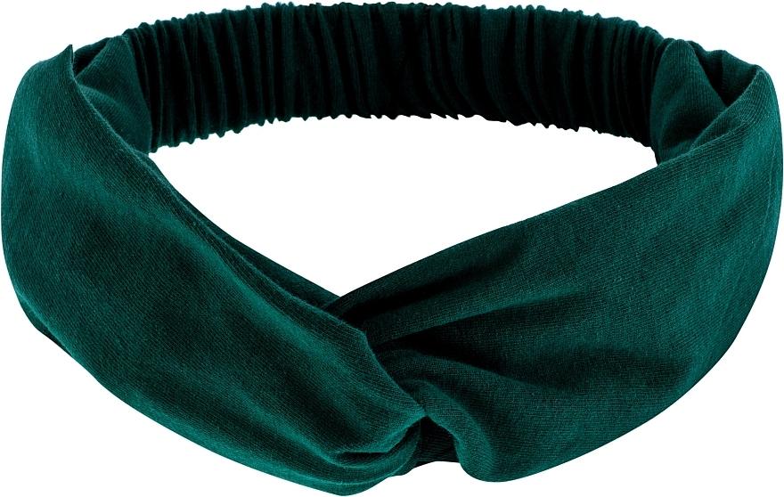 "Headband, Knit Cross, emerald, ""Knit Twist"" - MakeUp Hair Accessories"