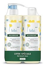 Fragrances, Perfumes, Cosmetics Set - Klorane Bebe Gentle Cleansing Gel (sh/gel/500ml + sh/gel/500ml)