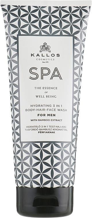 3-in-1 Men Shower Gel-Shampoo - Kallos Cosmetics Spa Hydrating 3in1 Body-Hair-Face Wash For Men