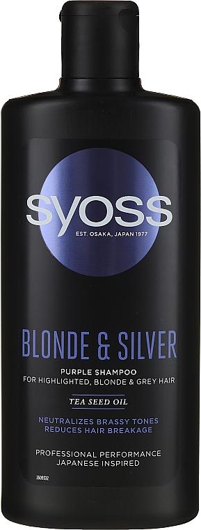 Shampoo for Blonde, Grey & Highlighted Hair - Syoss Blond & Silver Purple Shampoo for Highlighted, Blonde & Grey Hair