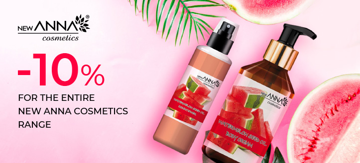 10% off the entire New Anna Cosmetics range. Prices on the site are indicated with a discount