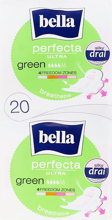 Sanitary Pads Perfecta Green Drai Ultra, 2x10 pcs - Bella