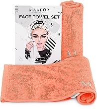 "Fragrances, Perfumes, Cosmetics Face Towels Travel Set, peach ""MakeTravel"" - Makeup Face Towel Set"