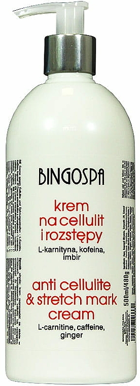 Anti-Cellulite and Stretches Cream with L-Keratin, Caffiene and Ginger - BingoSpa