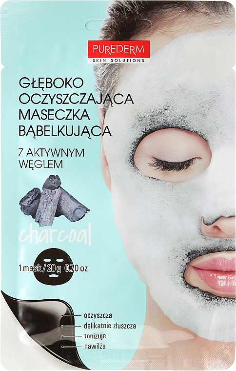 Deep Cleansing Oxigen Face Mask - Purederm Deep Purifying Black O2 Bubble Mask Charcoal