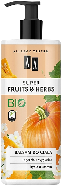 "Body Lotion ""Pumpkin and Jasmine"" - AA Super Fruits & Herbs"