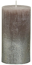 Fragrances, Perfumes, Cosmetics Rustic Metallic Champagne Taupe Cylindrical Candle, 130/68 mm - Bolsius Candle