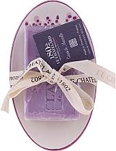 Fragrances, Perfumes, Cosmetics Oval Lavender Soap with Ceramic Soap Dish - Le Chatelard 1802 Lavender Soap