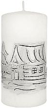 Fragrances, Perfumes, Cosmetics Decorative Candle, medium cylinder, white, 7x14cm - Artman Ice land