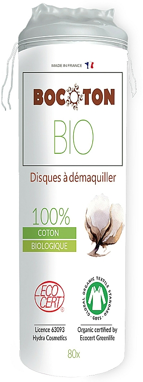 Organic Cotton Pads, round, 80 pcs - Bocoton
