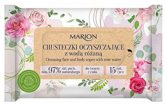 Cleansing Face & Body Wipes with Rose Water, 15 pcs - Marion