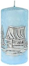 Fragrances, Perfumes, Cosmetics Decorative Candle, medium cylinder, blue, 7x14cm - Artman Ice land