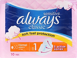 Fragrances, Perfumes, Cosmetics Sanitary Pads, 10pcs - Always Classic Normal Sensitive