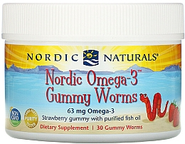 """Fragrances, Perfumes, Cosmetics Dietary Supplement with Strawberry Flavor """"Omega-3"""", 63 mg - Nordic Naturals Gummy Worms"""
