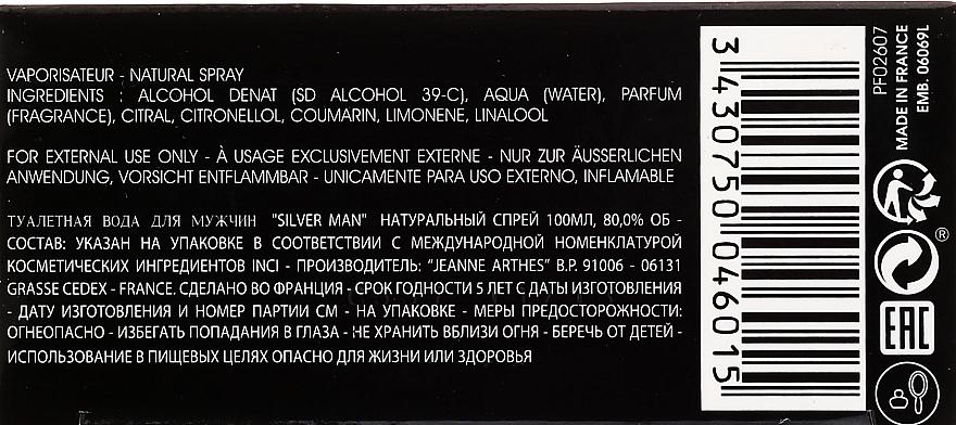 Jeanne Arthes Silver Man - Eau de Toilette — photo N2
