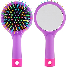 Fragrances, Perfumes, Cosmetics Hair Brush with Mirror, purple - Twish Handy Hair Brush with Mirror Lavender Floral