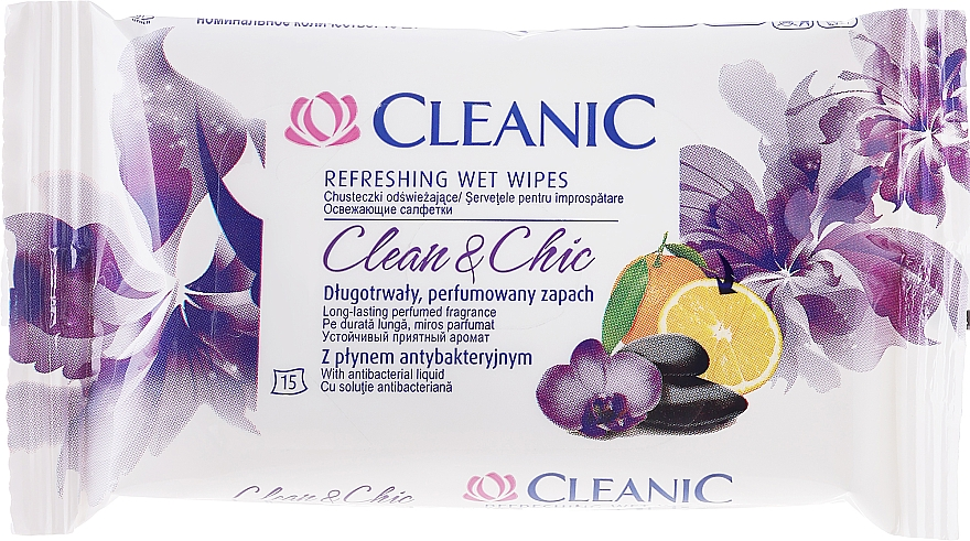 Refreshing Wipes, 15 pcs - Cleanic Clean & Chic Wipes