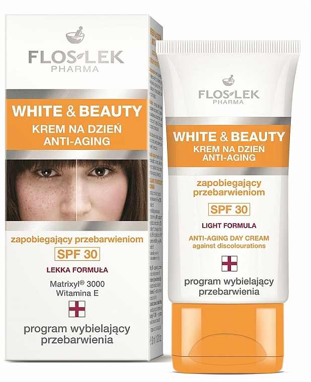 Day Cream for Face - Floslek White & Beauty Anti-Aging Day Cream SPF 30