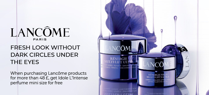When purchasing Lancôme products for more than 48 £, get Idole L'Intense perfume mini size for free