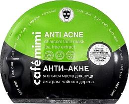 "Fragrances, Perfumes, Cosmetics Charcoal Facial Sheet Mask ""Anti-Acne"" - Cafe Mimi Anti Acne Charcoal Face Mask Tea Tree Extract"