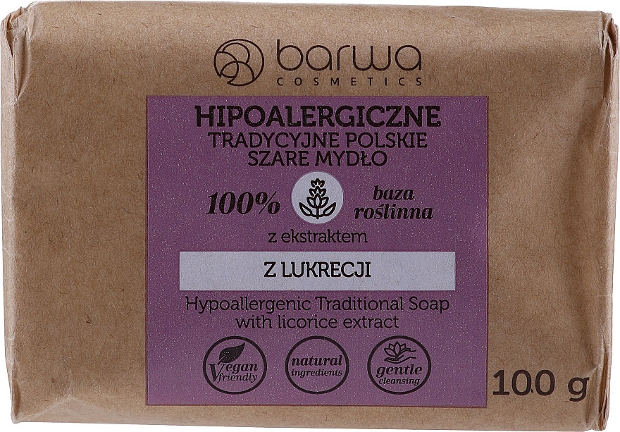 Traditional Grey Soap with Licorice Extract - Barwa Hypoallergenic Traditional Soap With Licorice Extract