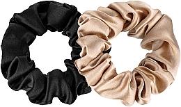 Fragrances, Perfumes, Cosmetics Midi Natural Silk Elastic Hair Band Set - Makeup Scrunchie Set Black Gold