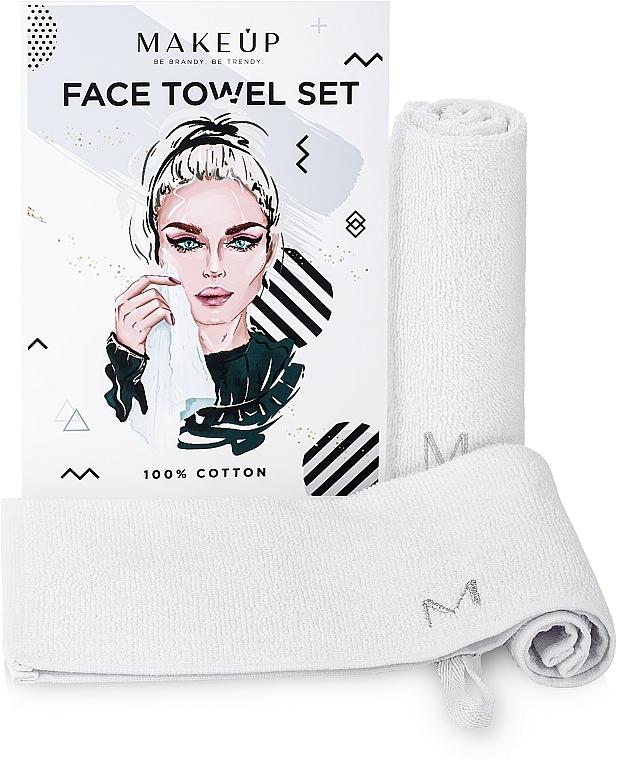 """Face Towels Travel Set, white """"MakeTravel"""" - Makeup Face Towel Set"""