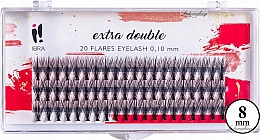 Fragrances, Perfumes, Cosmetics Individual Lashes, C 0,1 mm, 8 mm - Ibra Extra Double 20 Flares Eyelash C 8 mm