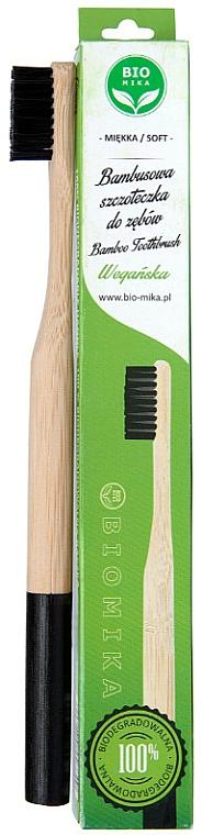 Soft Bamboo Toothbrush, black - Biomika Natural Bamboo Toothbrush