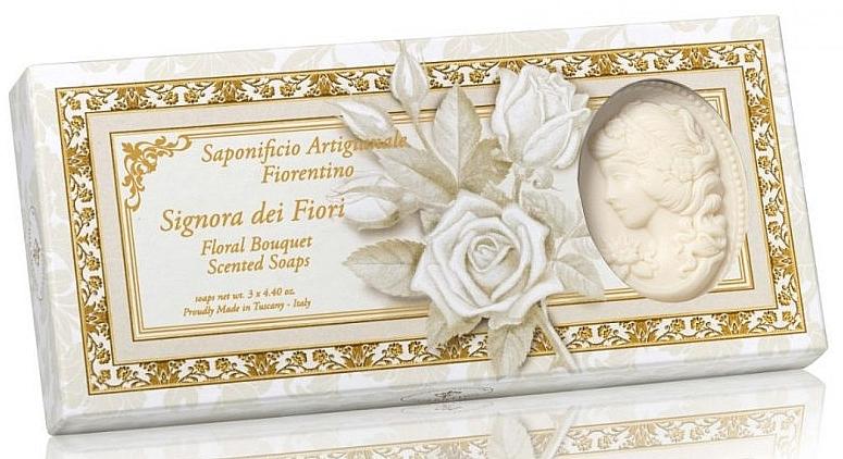 """Lady-Shaped Natural Soap Set """"Flower Bouquet"""" - Saponificio Artigianale Floral Bouquet Soap (soap/3pcsx125g)"""