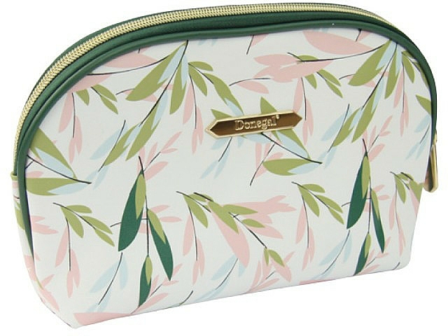 """Large Makeup Bag """"Spring Flower"""", 4996, white and green - Donegal"""
