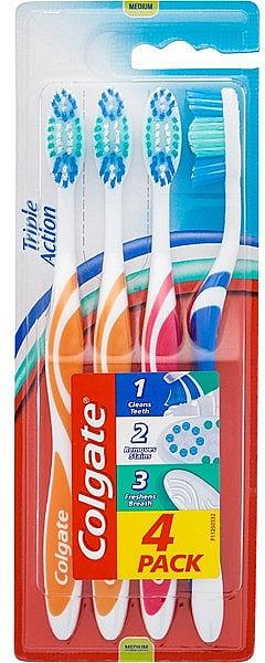 "Toothbrush ""Triple Action"" Medium, 4 pcs - Colgate Triple Action Medium Toothbrush — photo N1"