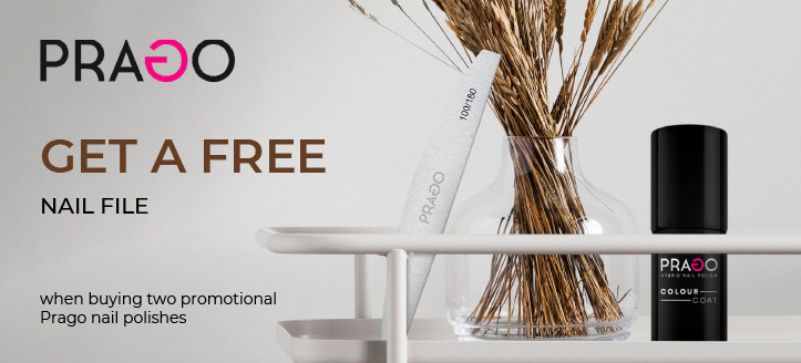 Get a free nail file when buying two promotional Prago nail polishes