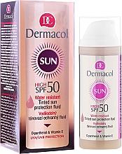 Fragrances, Perfumes, Cosmetics Waterproof Fluid SPF 50 - Dermacol Sun WR Tinted Sun Protection Fluid SPF50